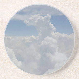 Blue Sky Nature White Puffy Cloud Formations Beverage Coasters