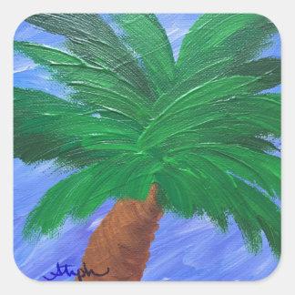 Blue Sky Palm Square Sticker
