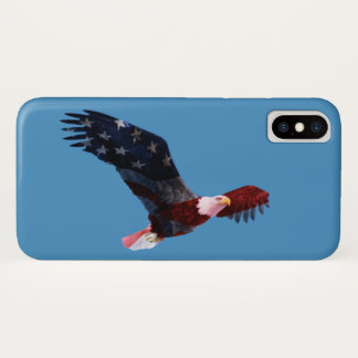 Blue Sky Patriotic American Flag Bald Eagle iPhone X Case