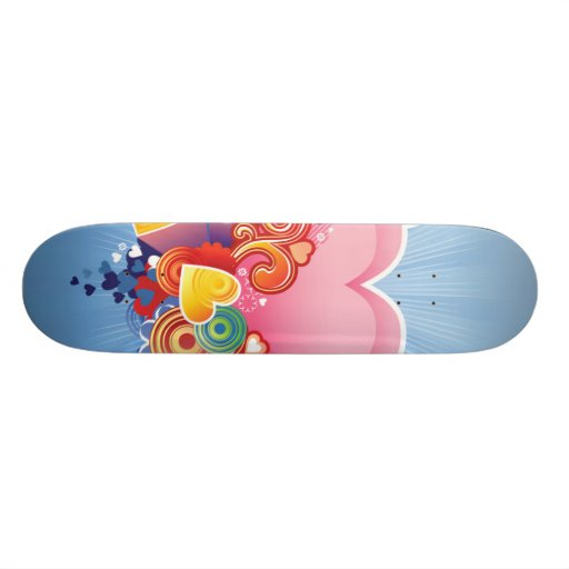 Blue Sky Pink Heart Skate Board Decks