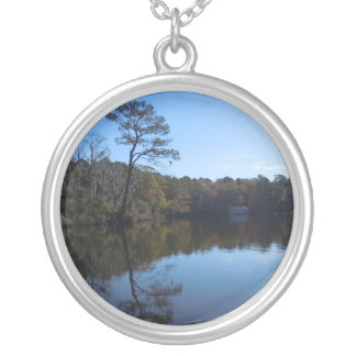 Blue Sky Reflections - Beaufort County, NC Silver Plated Necklace