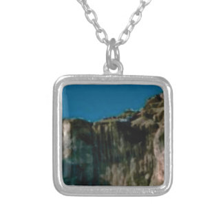 blue sky rock cliffs silver plated necklace