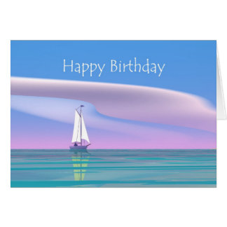 Blue Sky Sailing Birthday Card