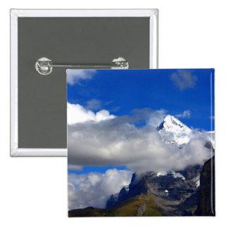 Blue Sky Snowy Mountain 15 Cm Square Badge