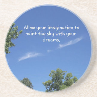 Blue Sky Tree Tops Inspirational Quote Drink Coaster