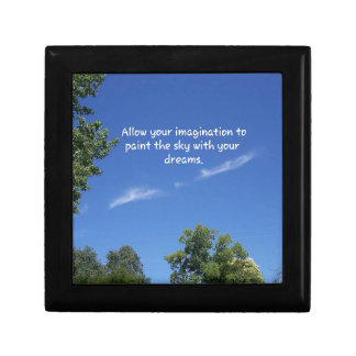 Blue Sky Tree Tops Inspirational Quote Small Square Gift Box