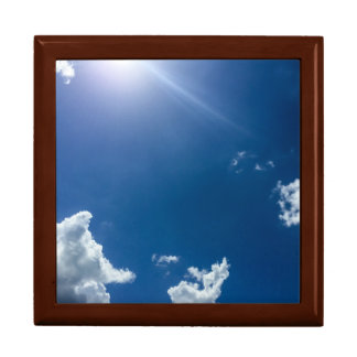 Blue Sky White Clouds Background Cloudy Skies Large Square Gift Box