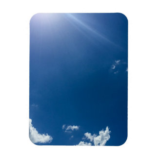 Blue Sky White Clouds Background Cloudy Skies Rectangular Photo Magnet