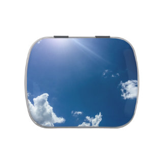 Blue Sky White Clouds Background Cloudy Skies Jelly Belly Candy Tins