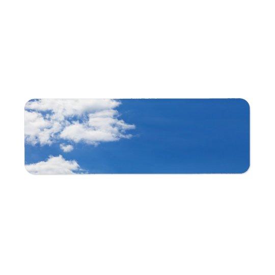 Blue Sky White Clouds Background Customised Blank Return Address Label