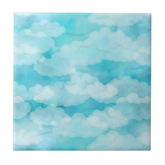 Blue Sky, White Clouds, Cloudscape, Cloudy Sky Tile
