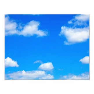 Blue Sky White Clouds Heavenly Cloud Background 11 Cm X 14 Cm Invitation Card