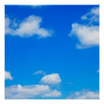 Blue Sky White Clouds Heavenly Cloud Background Poster