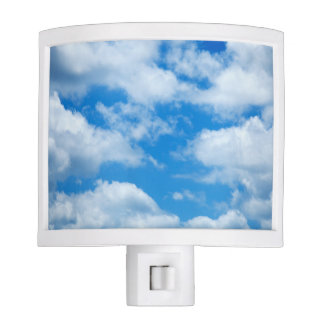 Blue Sky White Clouds Heavenly Skies Background Night Lite