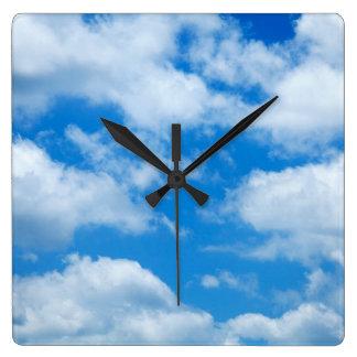 Blue Sky White Clouds Heavenly Skies Background Wallclock