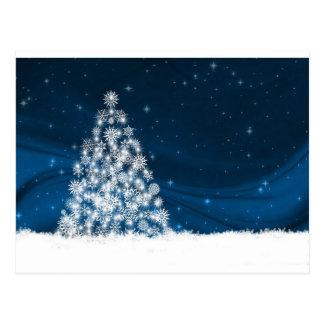 Blue Sky White Snowy Christmas Tree Postcard