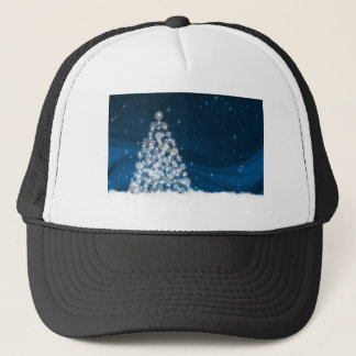 Blue Sky White Snowy Christmas Tree Trucker Hat