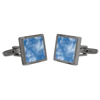 Blue Sky with Clouds Photo Gunmetal Finish Cufflinks