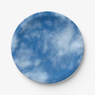 Blue Sky with Clouds Photo Paper Plate