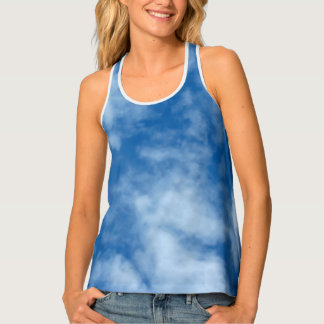 Blue Sky with Clouds Photo Singlet