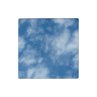 Blue Sky with Clouds Photo Stone Magnet