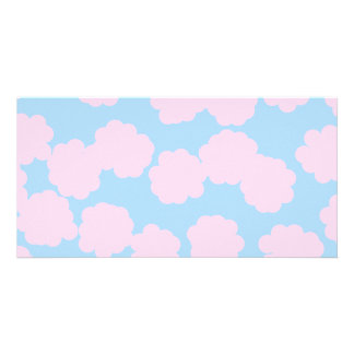Blue Sky with Pink Clouds Pattern. Picture Card