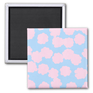 Blue Sky with Pink Clouds Pattern. Square Magnet