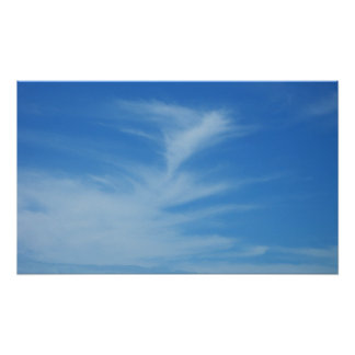 Blue Sky with White Clouds Abstract Nature Photo Poster