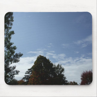 Blue Sky with White Clouds and Trees Mouse Pad