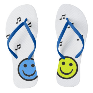 Blue slipper and Yellow Smiley Music Thongs