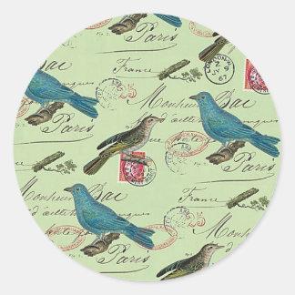 Blue small birds classic round sticker