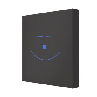 Blue Smile Face Wrapped Canvas