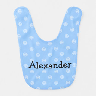 Blue smiley face pattern baby bib for boy