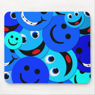 BLUE SMILEYS COLLAGE MOUSE PAD