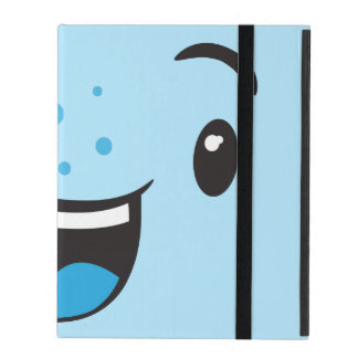 Blue Smiling Kawaii Face iPad Case