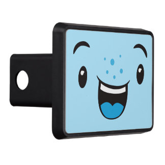 Blue Smiling Kawaii Face Trailer Hitch Cover