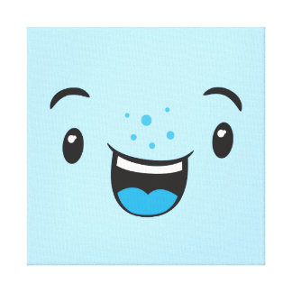 Blue Smiling Kawaii Face Wrapped Canvas Canvas Prints