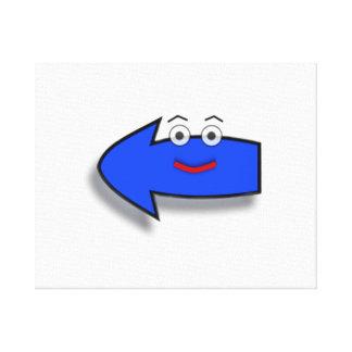 Blue Smiling Left Arrow Canvas Print