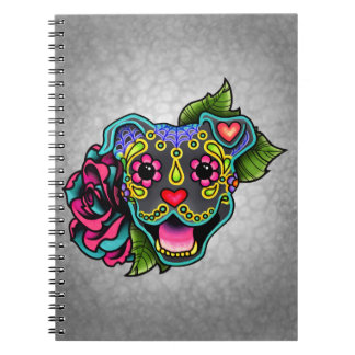 Blue Smiling Pit Bull Day of the Dead Sugar Skull Notebook