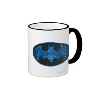 Blue Smoke Bat Symbol Ringer Mug