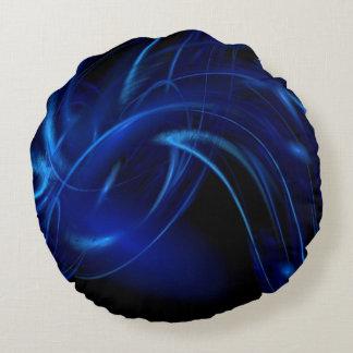 Blue Smoke Fractal Round Cushion