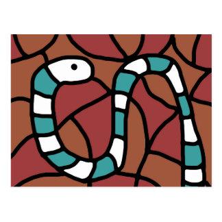 Blue snake postcard