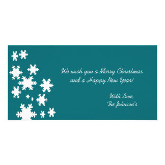 Blue Snow Flakes Christmas Photo Cards