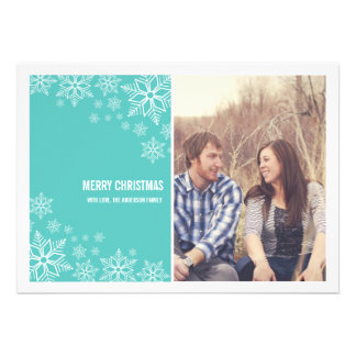 Blue Snow Flakes Christmas Photo Flat Cards