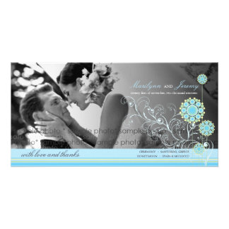Blue Snow Flower Swirls Winter Wedding Thank You Custom Photo Card