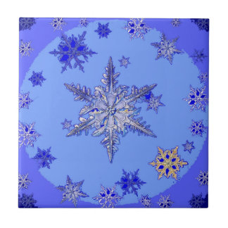 """BLUE SNOW ON SNOW"" BLUE WINTER gifts Tile"