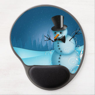 Blue Snow Snowman with Black Hat and Carrot Nose Gel Mouse Pad