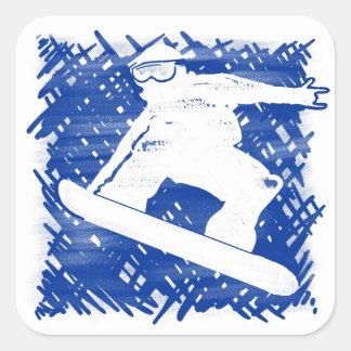 Blue snowboarder cross hatch art square sticker