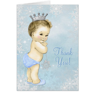 Blue Snowflake Boy Baby Shower Thank You Card