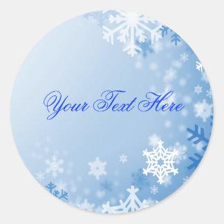 Blue Snowflake Christmas Envelope Sticker/seal Round Sticker